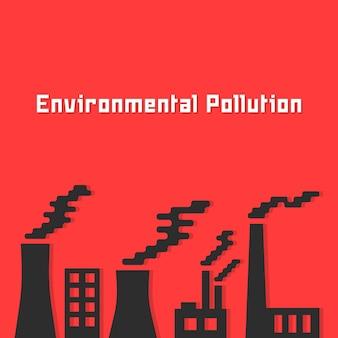 Zanieczyszczenie środowiska z sylwetką fabryki. pojęcie ropy naftowej, spalin ekosystemowych, zanieczyszczeń chemicznych, globalnego ocieplenia. na białym tle na czerwonym tle. płaski trend w nowoczesnym stylu ilustracji wektorowych