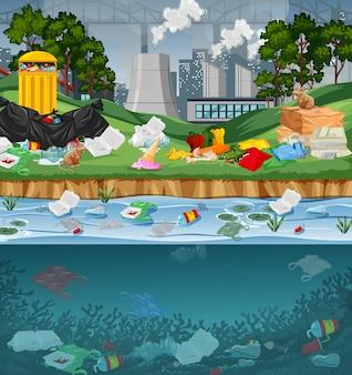 Zanieczyszczenie wody plastikowymi torbami w parku