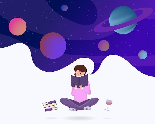 Zanurzony w czytaniu metafory. młoda dziewczyna w lotosie stanowią ciesząc się literaturą science fiction, postać z kreskówki fantasy.