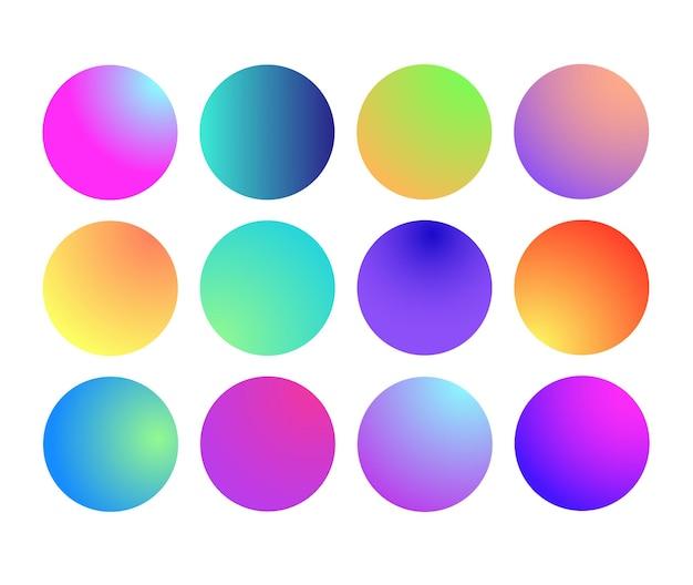 Zaokrąglona holograficzna kula gradientowa wielokolorowa zielona fioletowa żółta pomarańczowa różowa cyjan płynne koło gra...