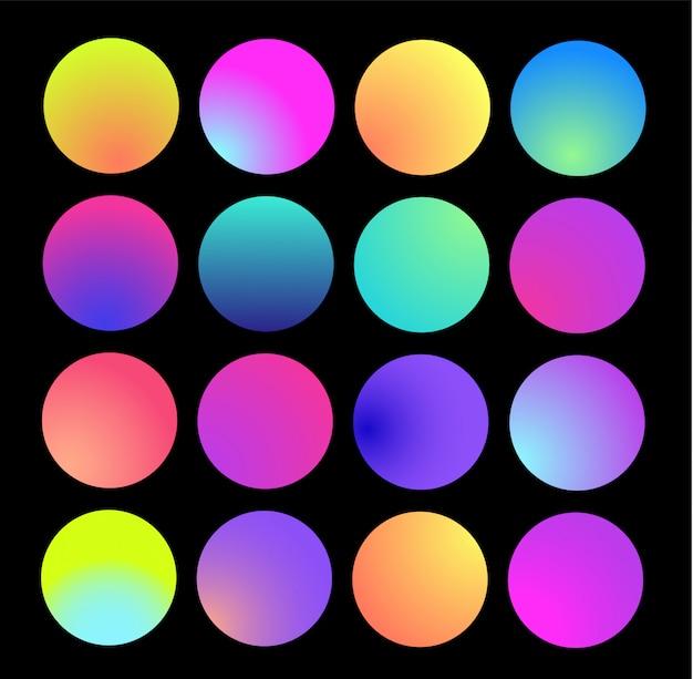 Zaokrąglona holograficzna sfera gradientowa. wielokolorowe gradienty koła, kolorowe miękkie okrągłe przyciski lub żywe kolorowe kulki płaski zestaw