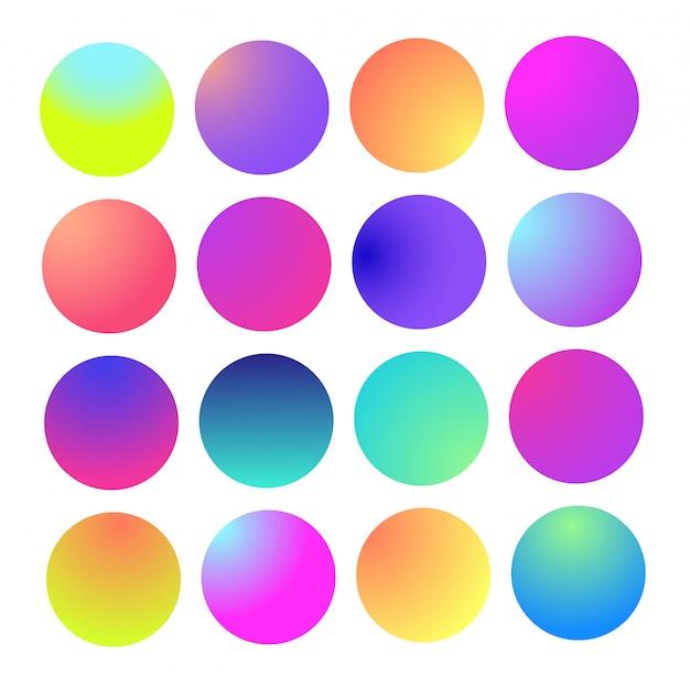Zaokrąglona holograficzna sfera gradientowa. wielokolorowe zielone fioletowe żółte pomarańczowe różowe cyjanowe gradienty koła płynnego,