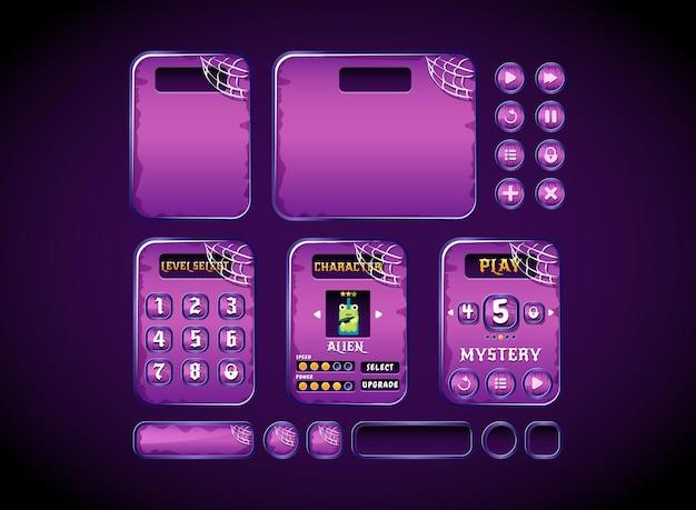 Zaokrąglona przerażająca gra halloweenowa wyskakująca tablica interfejsu użytkownika z przyciskiem i ikonami