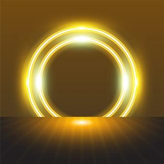 Zaokrąglona rama koło neon na tle