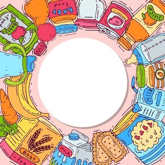 Zaokrąglona rama z jedzeniem dla dzieci okrąża wektorową ilustrację. butelki dla niemowląt, słoiki z puree, owoce i warzywa są wokół białego koła z miejscem na tekst.