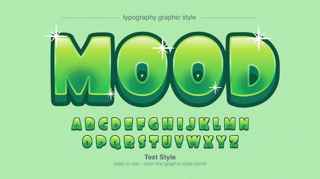 Zaokrąglona zabawa zielona kreskówka typografia