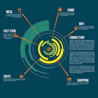 Zaokrąglone infografika szablon