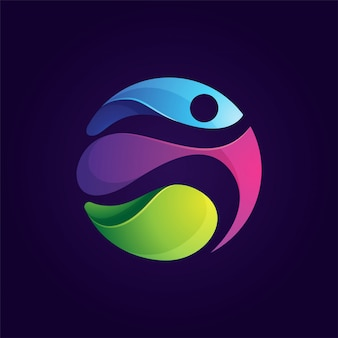 Zaokrąglone kolorowe ludzie uruchomić logo sportu