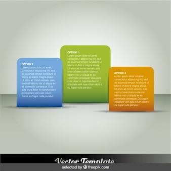 Zaokrąglone prostokątne kolorowe infografiki kroki