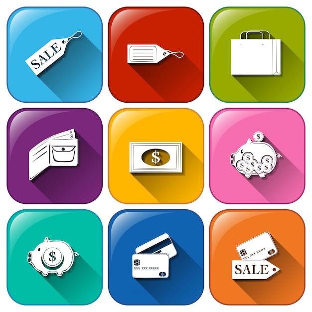 Zaokrąglone przyciski z ikonami wydatków