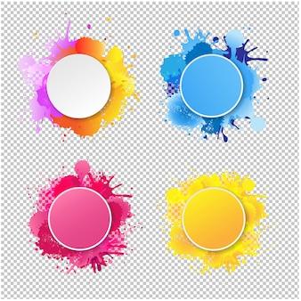 Zaokrąglone ramki z kolorowymi kształtami kropelek