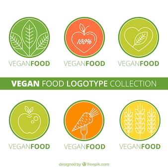 Zaokrąglone wegańskie logotypy żywności