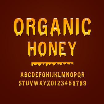 "Zaokrąglony alfabet ""honey"" vintage sans serif. typografia retro."