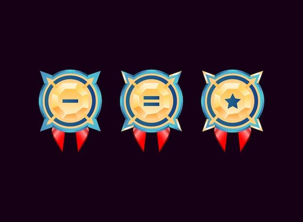 Zaokrąglony interfejs gry błyszczący złoty diament odznaka rangi medale