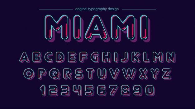 Zaokrąglony neon typografia kolor