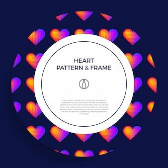 Zaokrąglony plakat, baner lub karta z tytułem i szablonem tekstowym, ozdobiona kolorową ramką serca