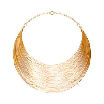 Zaokrąglony, prosty, złoty metaliczny naszyjnik lub bransoletka. osobisty dodatek modowy. ilustracja.