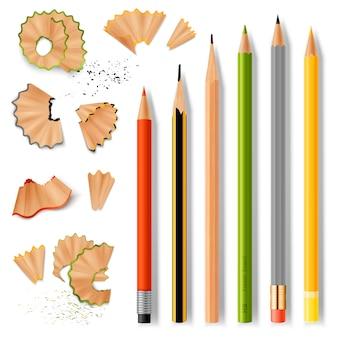 Zaostrzone drewniane ołówki i wióry