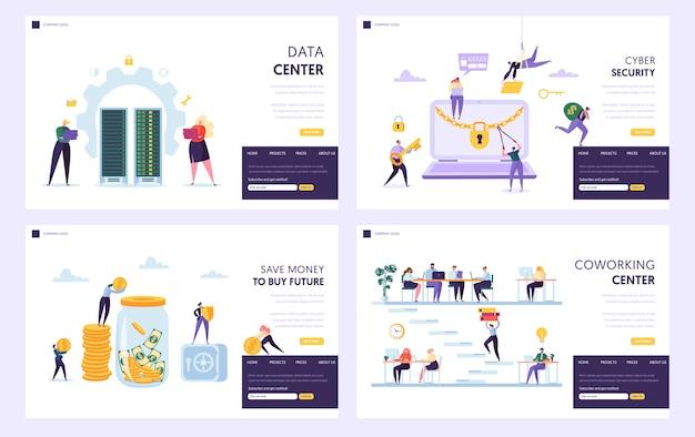 Zaoszczędź pieniądze, aby kupić przyszły zestaw stron docelowych. centrum danych i bezpieczeństwo cybernetyczne chronią informacje prywatne. coworking centre alternatywne miejsce pracy witryna lub strona internetowa. ilustracja wektorowa płaski kreskówka