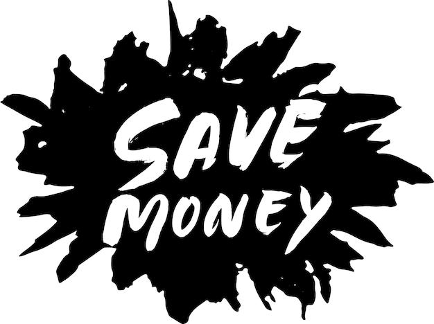 Zaoszczędź pieniądze nowoczesny suchy pędzel napis szablon transparent.