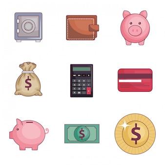 Zaoszczędzić pieniądze zestaw ikon