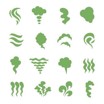 Zapach ikony. dymiący smród, para i gotująca się para. zielony wygasł zapach żywności na białym tle symbole. zielony zapach dymu, mgiełka zapachowa i gówniana toksyczna ilustracja
