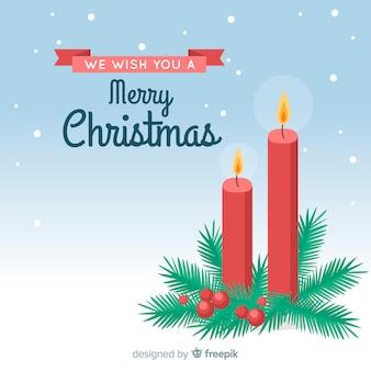 Zapalane świece z jemioła christmas background
