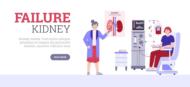 Zapalenie nerek lub niewydolność nerek ilustracja kreskówka wektor strony internetowej
