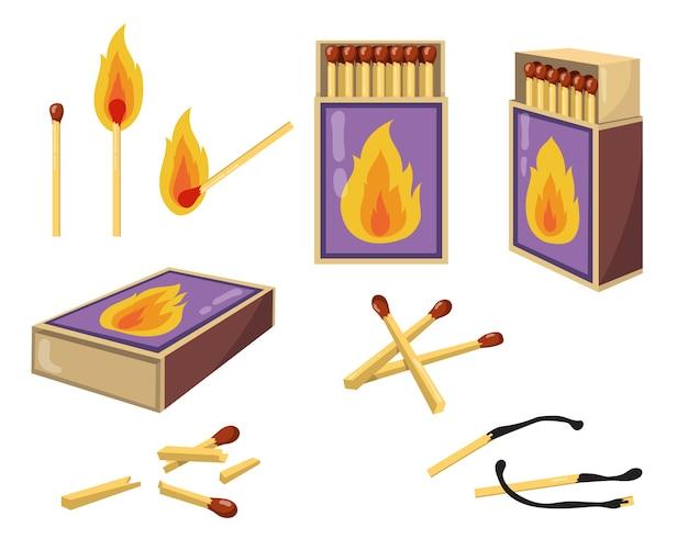 Zapałki i zapałki płaski zestaw ilustracji. kreskówka spalone zapałki z ogniem i otwarte pudełka na drewniane mecze na białym tle kolekcja ilustracji wektorowych. koncepcja ciepła i projektu