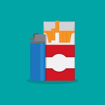Zapalniczki gazowe i płaska ilustracja papierosów