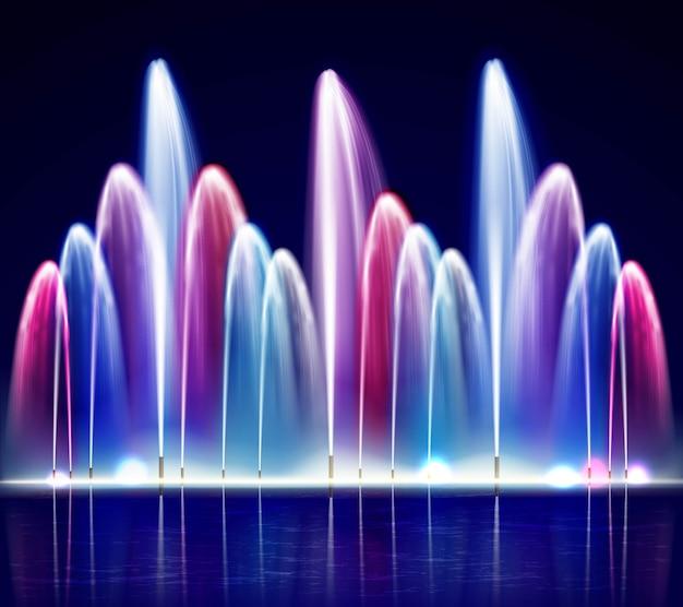 Zapalona noc kolorowe fontanny realistyczne ilustracja