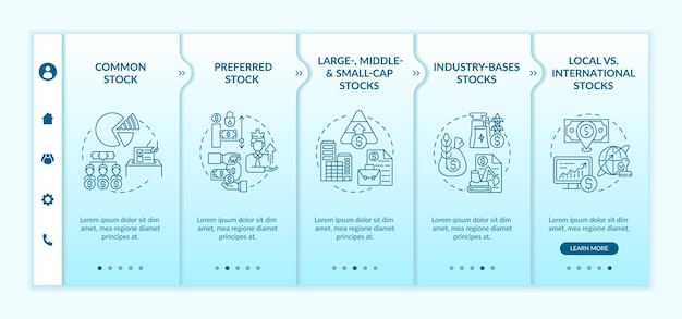 Zapasy inwestycyjne typy onboarding wektor szablon. responsywna strona mobilna z ikonami. przewodnik po stronie internetowej 5 ekranów krokowych. preferencje, rozmiar, koncepcja kolorów aktywów branżowych z liniowymi ilustracjami