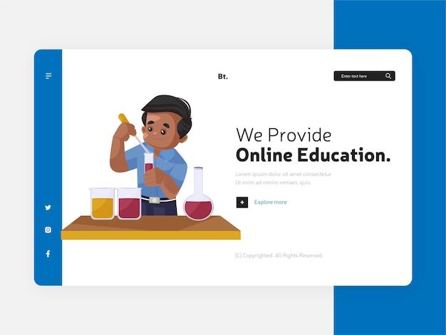 Zapewniamy szablon strony docelowej edukacji online
