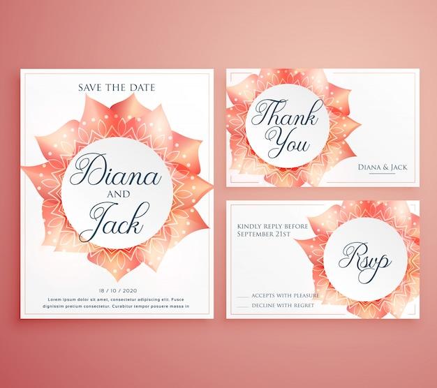 Zapisać daty ślubu karty szablonu piękny kwiat projektu