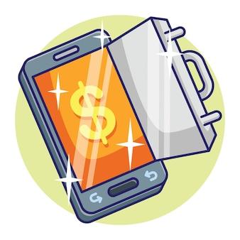 Zapisywanie cyfrowych pieniędzy online depozytu koncepcja telefonu komórkowego. wektor premium