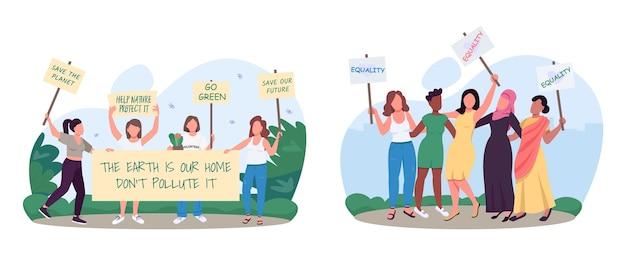 Zapisywanie ruchu progresywnego ekologii 2d wektorowe banery internetowe, zestaw plakatów. idź zielony, płaskie postacie kobiet na tle kreskówki. walka o równość płci i zbiór scen środowiskowych