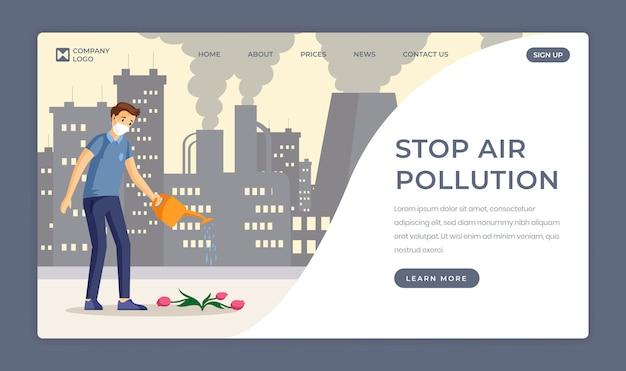 Zapisywanie szablonu płaskiej strony docelowej natury. zatrzymaj zanieczyszczenie powietrza, zmniejsz emisje przemysłowe na jednej stronie. mężczyzna podlewania kwiatów w zanieczyszczonym mieście postać z kreskówki z miejsca na tekst