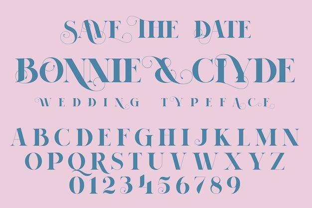 Zapisz czcionkę daty, mody i zaproszenia ślubne, ilustracja napis.