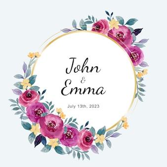 Zapisz datę akwarela bordowy kwiat róży z akwarelą