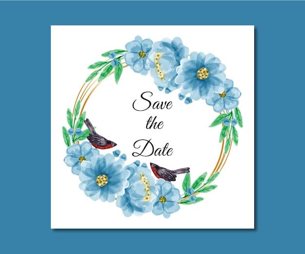 Zapisz datę akwarela kwiaty premium