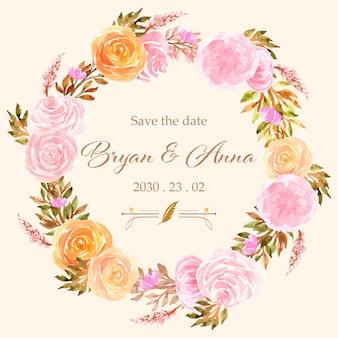 Zapisz datę akwarela wieniec kwiatowy z różami