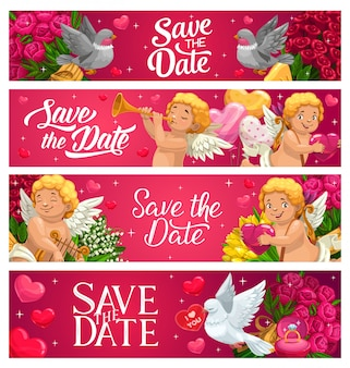 Zapisz datę banery ślubne karty z kreskówek