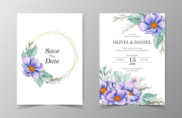 Zapisz datę eleganckiej karty zaproszenia ślubne z kwiatem i liśćmi