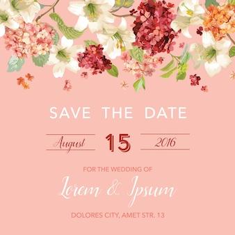 Zapisz datę jesień i lato kwiatowy kartka w stylu akwareli. rocznika hortensja kwiaty