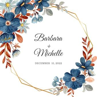 Zapisz datę karta akwarela z niebieskim kwiatem