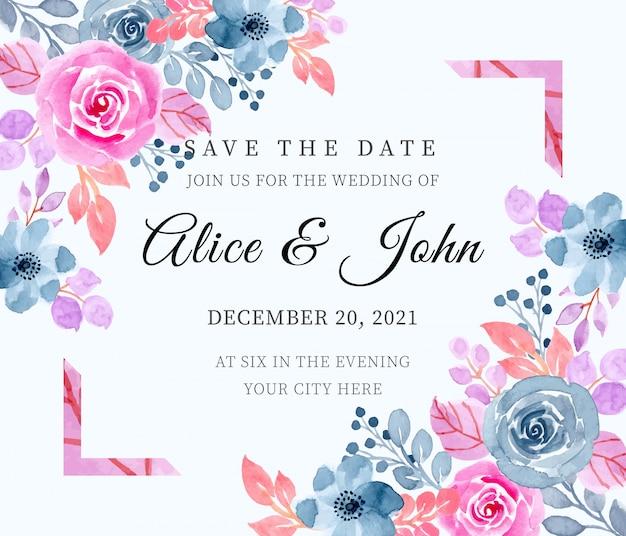 Zapisz datę. karta zaproszenie na ślub z akwarela kwiatowy