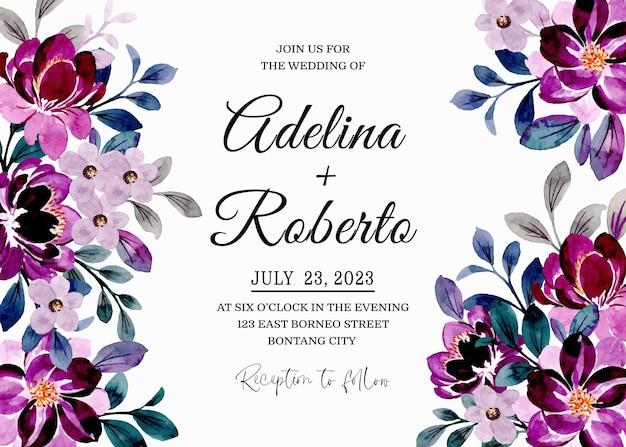 Zapisz datę. karta zaproszenie na ślub z fioletową akwarelą kwiatowy
