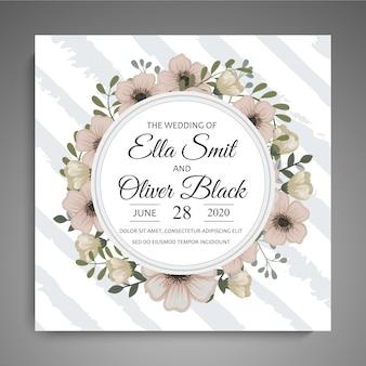 Zapisz datę, karta zaproszenie na ślub z szablonem kwiat wieniec