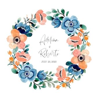 Zapisz datę. kolorowy wieniec kwiatowy z akwarelą