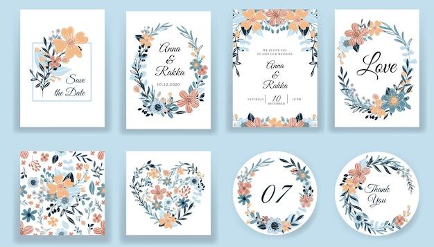 Zapisz datę kwiatowy ręcznie rysowane karty i kolekcja zaproszeń